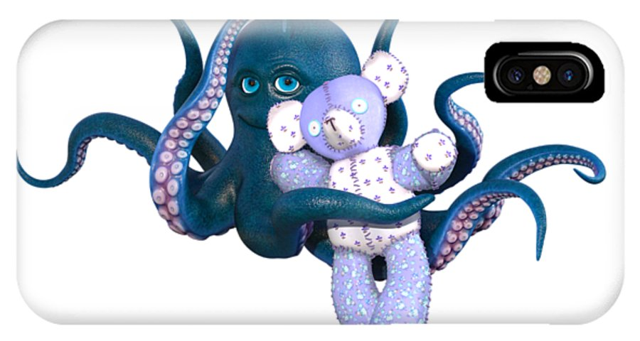Octopus IPhone X Case featuring the digital art Octopus And Purple Bear by Betsy Knapp