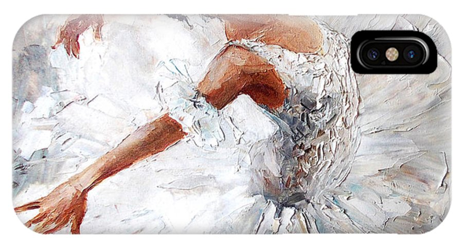 Small IPhone X Case featuring the digital art Oil Painting, Girl Ballerina. Drawn by Maria Bo