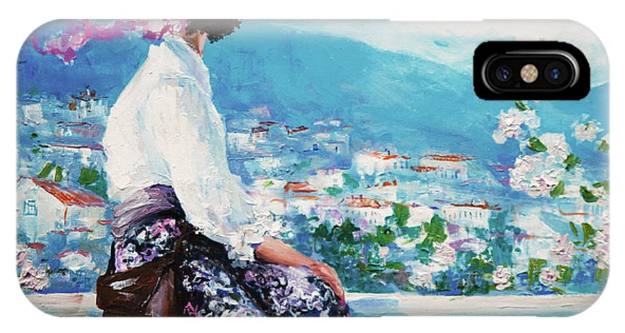 Dress IPhone X Case featuring the digital art Oil Painting, Woman Sitting And Looking by Maria Bo