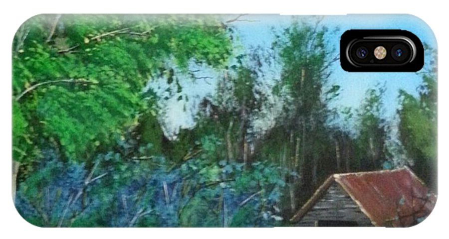 Landscape IPhone X Case featuring the painting Old Barn by Ken Farnsworth