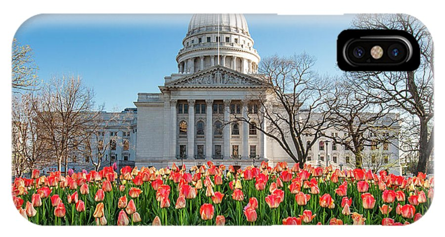 Wisconsin State Capitol IPhone X Case featuring the photograph On A Bed Of Tulips by Todd Klassy