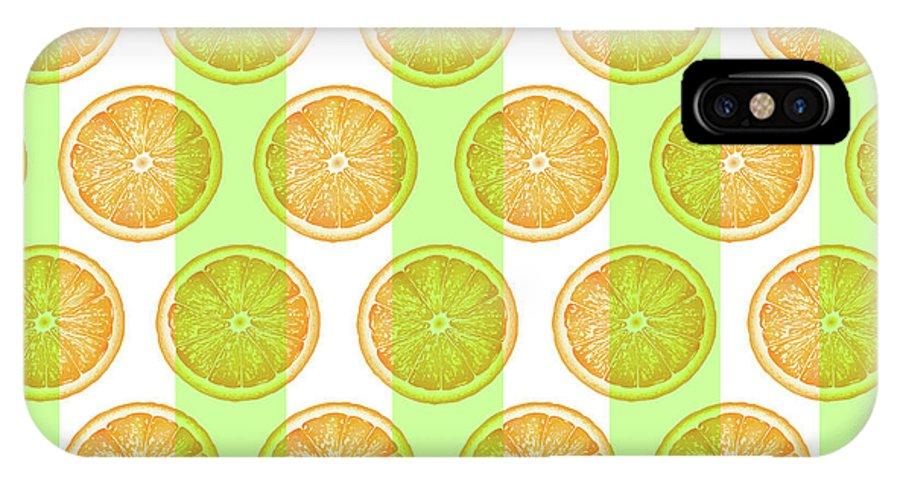 Orange IPhone X Case featuring the mixed media Orange Slice Pattern 2 - Tropical Pattern - Tropical Print - Lemon - Orange - Fruit - Tangerine by Studio Grafiikka