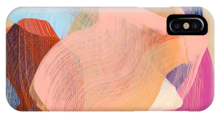 Abstract IPhone X Case featuring the painting Out Of The Blue 03 by Claire Desjardins
