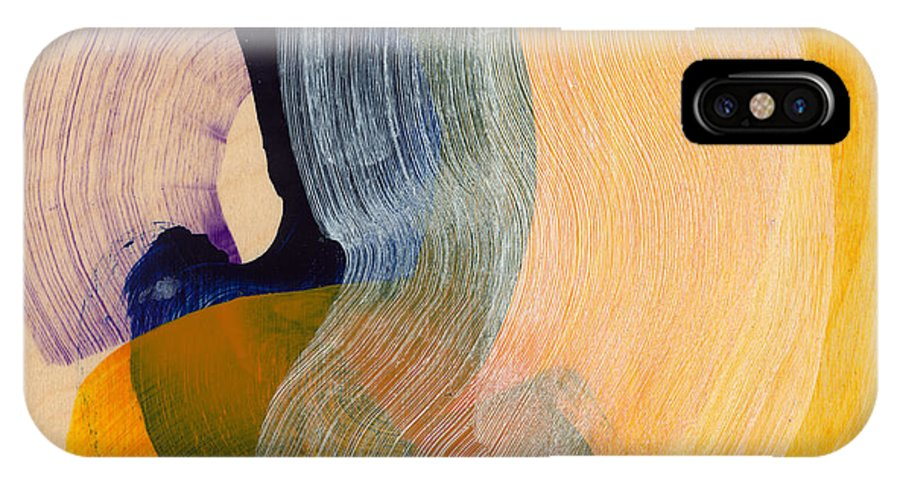 Abstract IPhone X Case featuring the painting Out Of The Blue 04 by Claire Desjardins