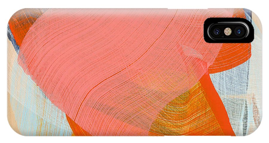 Abstract IPhone X Case featuring the painting Out Of The Blue 10 by Claire Desjardins
