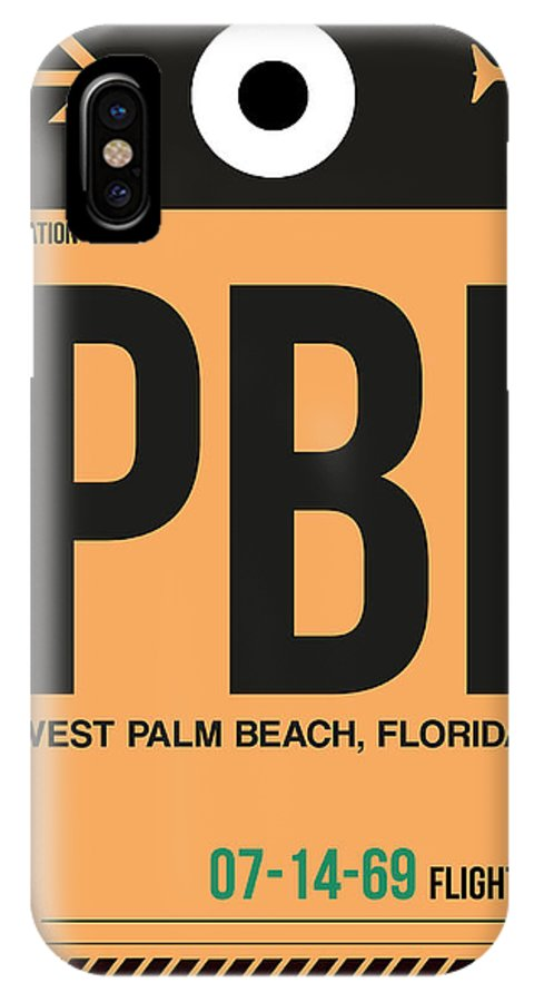 Vacation IPhone X Case featuring the digital art Pbi West Palm Beach Luggage Tag I by Naxart Studio