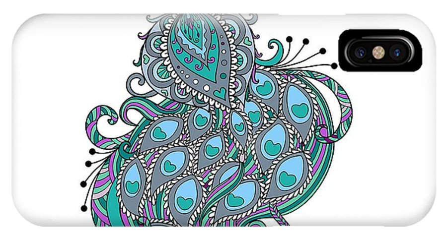 Peacock IPhone X Case featuring the digital art Peacock 1 by Charleen Treasures