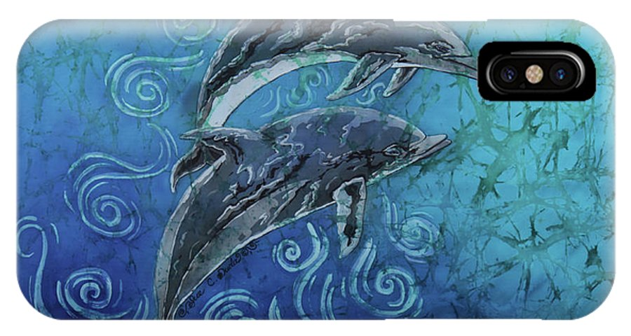 Porpoise IPhone X Case featuring the painting Perfect Pair - Porpoise by Sue Duda