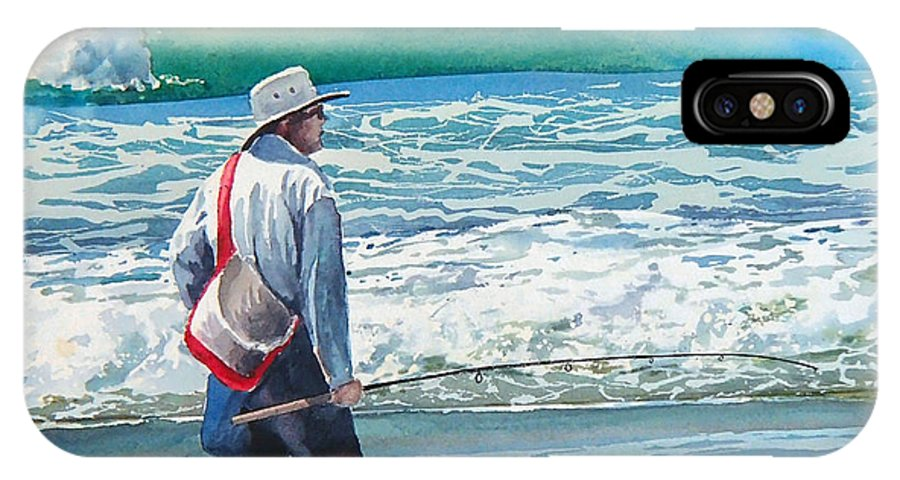 Beach.pismo Beach.ocean IPhone X Case featuring the painting Pismo Fisherman by Philip Fleischer