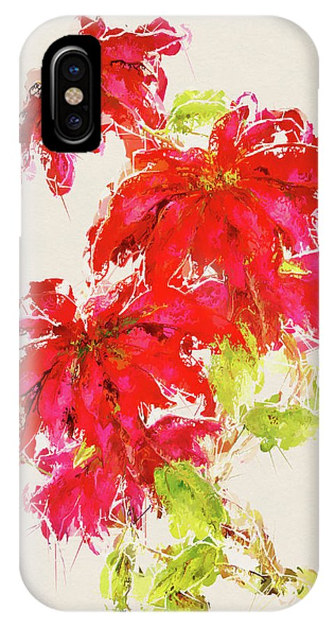 Abstract IPhone X Case featuring the mixed media Poinsettia by Amanda Lakey