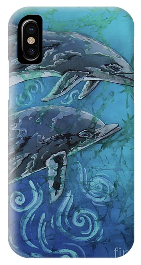 Porpoise IPhone X Case featuring the painting Porpoise Pair - Close Up by Sue Duda
