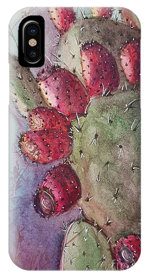 Purple IPhone X Case featuring the painting Purple Pricky Pear Cactus by Paola Baroni
