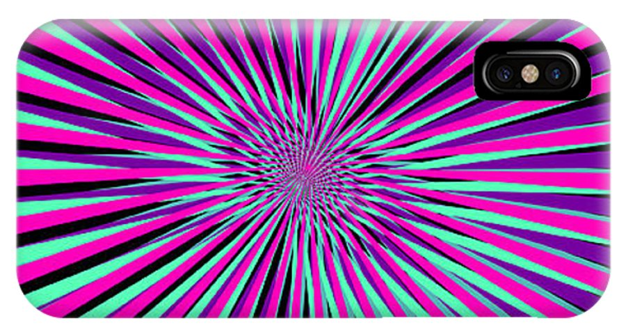 Vortex IPhone X Case featuring the digital art Pyschedelic Pink & Purple Art by Christiana Mustion