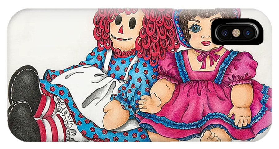 Original Drawing Raggedy Ann And Friend By Breenabriggemanart Children Nursery Infant Kids Girls Baby Doll Dolls IPhone X Case featuring the drawing Raggedy Ann And Friend by Breena Briggeman