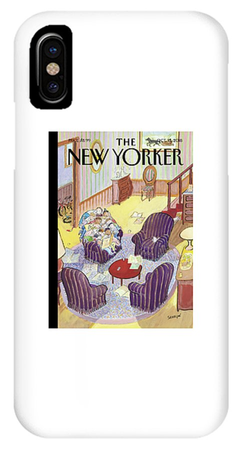 Reading Group IPhone X Case featuring the drawing Reading Group by Jean-Jacques Sempe