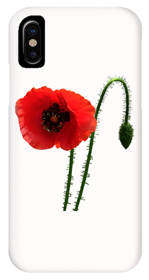 Poppy IPhone X Case featuring the photograph Red Poppy And Bud by Susan Savad