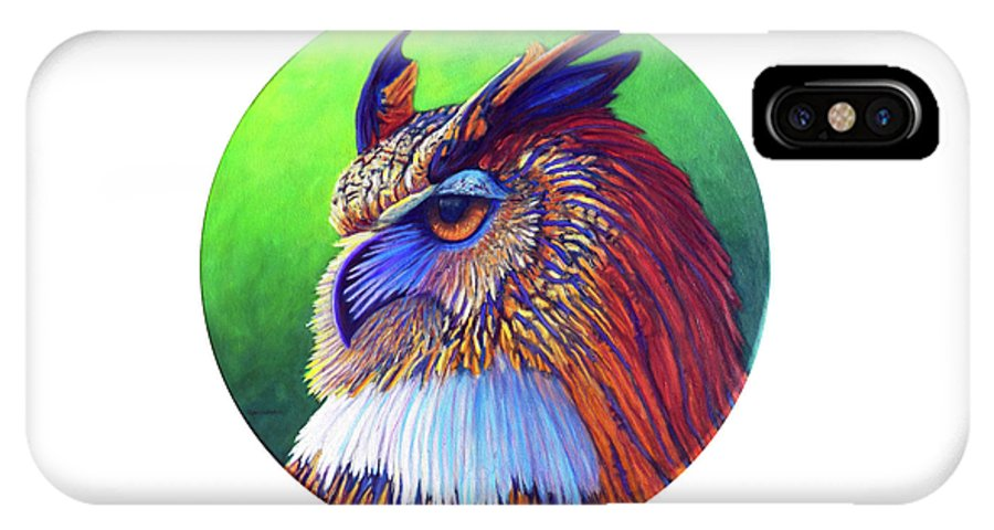 Owl IPhone X Case featuring the painting Regal Gaze by Brian Commerford