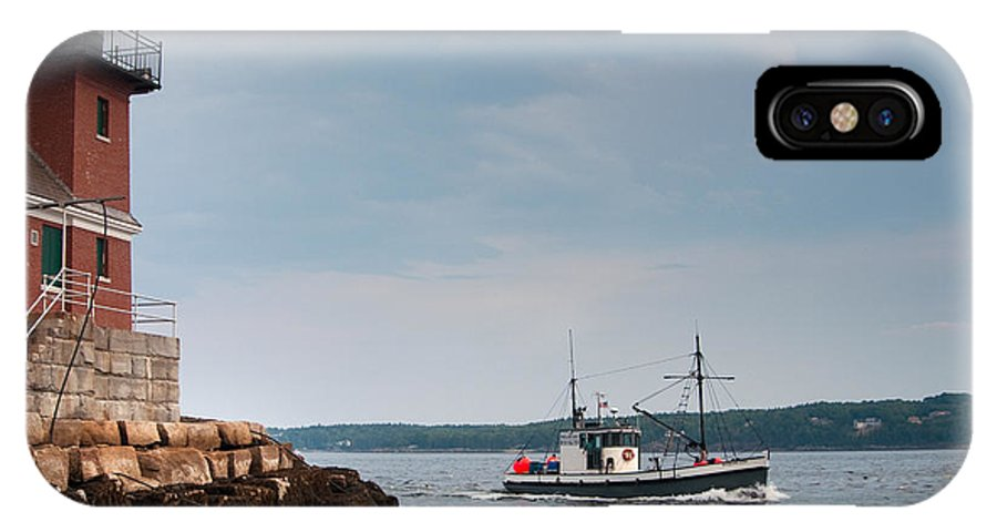 Strength IPhone X Case featuring the photograph Rockland Breakwater Lighthouse Guards by Allan Wood Photography