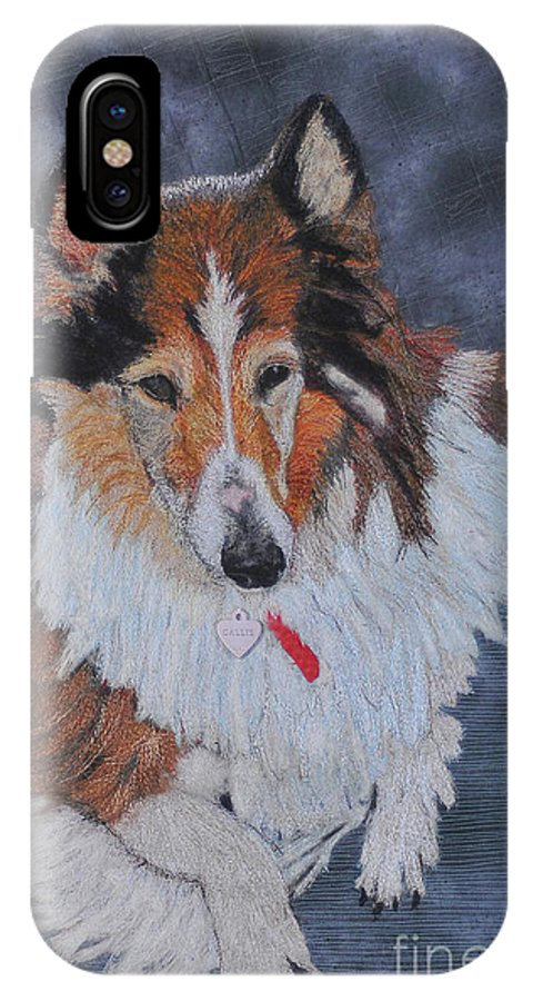 Rough Collie IPhone X Case featuring the tapestry - textile rough Collie by Dolores Fegan
