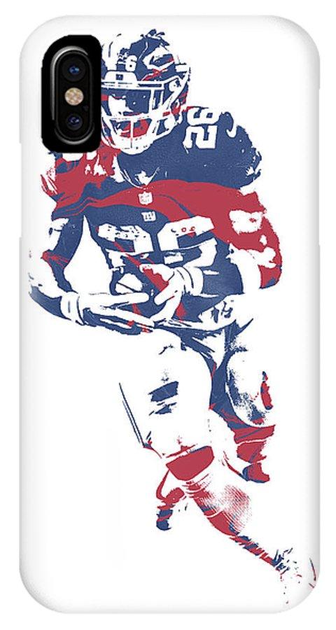 Saquon Barkley IPhone X Case featuring the mixed media Saquon Barkley New York Giants Pixel Art 11 by Joe Hamilton