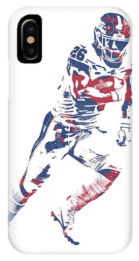 Saquon Barkley IPhone X Case featuring the mixed media Saquon Barkley New York Giants Pixel Art 13 by Joe Hamilton