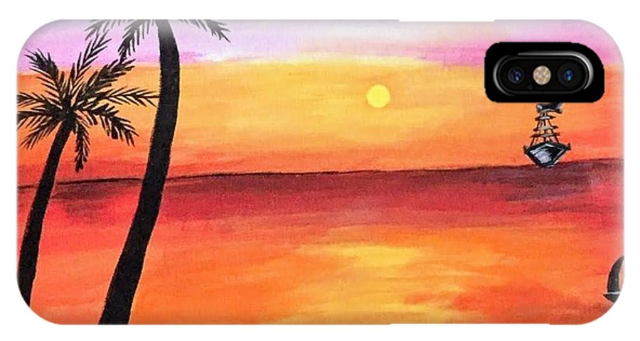 Canvas IPhone X Case featuring the painting Scenary by Aswini Moraikat Surendran