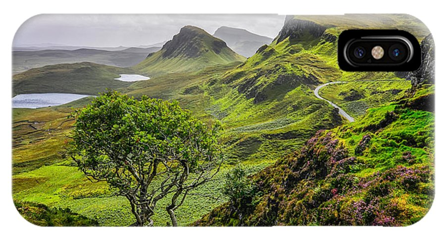 Cliffs IPhone X Case featuring the photograph Scenic View Of Quiraing Mountains In by Martin M303