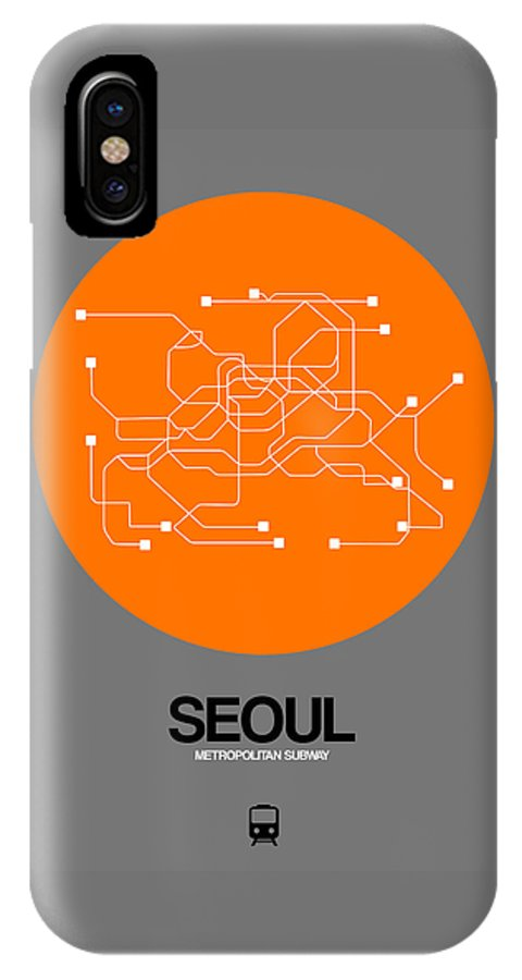 Vacation In Korea IPhone X Case featuring the digital art Seoul Orange Subway Map by Naxart Studio