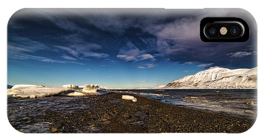 Svalbard Islands IPhone X Case featuring the photograph Shoreline With Driftice by Kai Mueller