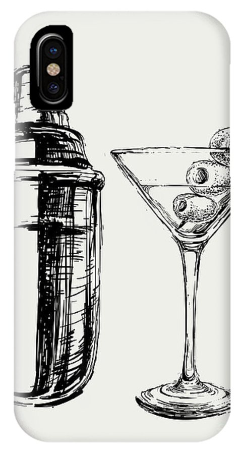 Symbol IPhone X Case featuring the digital art Sketch Martini Cocktails With Olives by Mazura1989