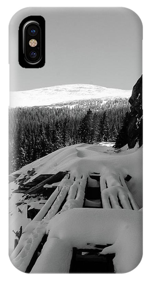 Black And White IPhone X Case featuring the photograph Snow Trellis by Jason Bohl
