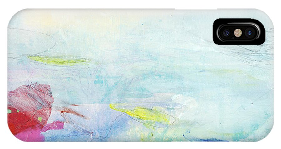 Abstract IPhone X Case featuring the painting Somewhere Else by Claire Desjardins