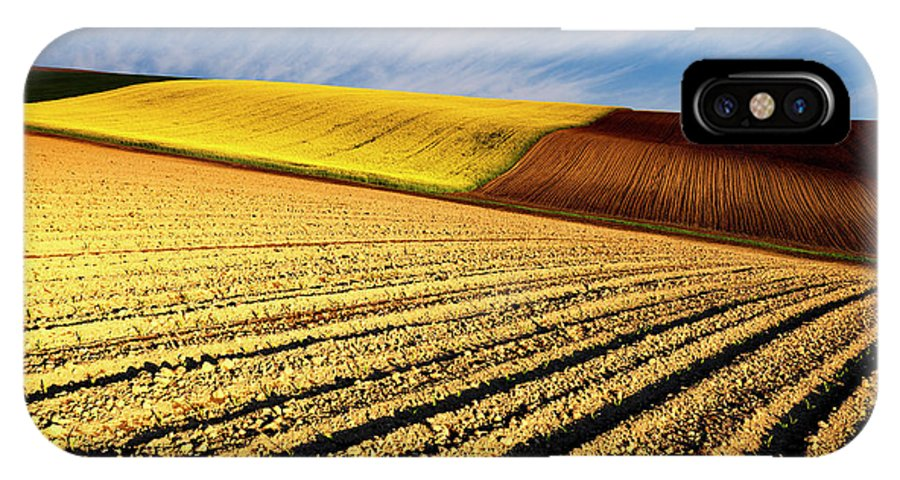 Furrows IPhone X Case featuring the photograph Spring Fields by Evgeni Dinev