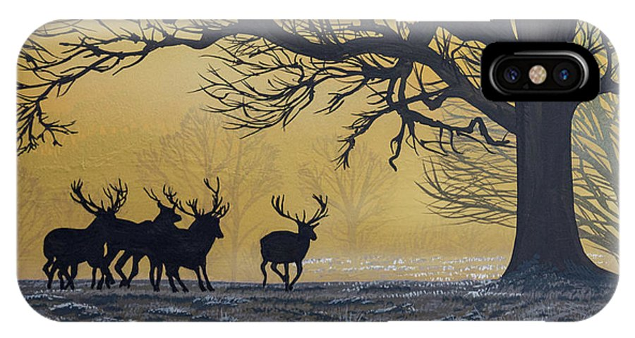 Stags IPhone X Case featuring the painting Stags At Dawn by Raymond Ore