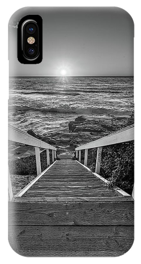 Beach Art IPhone X Case featuring the photograph Steps To The Sun Black And White by Peter Tellone