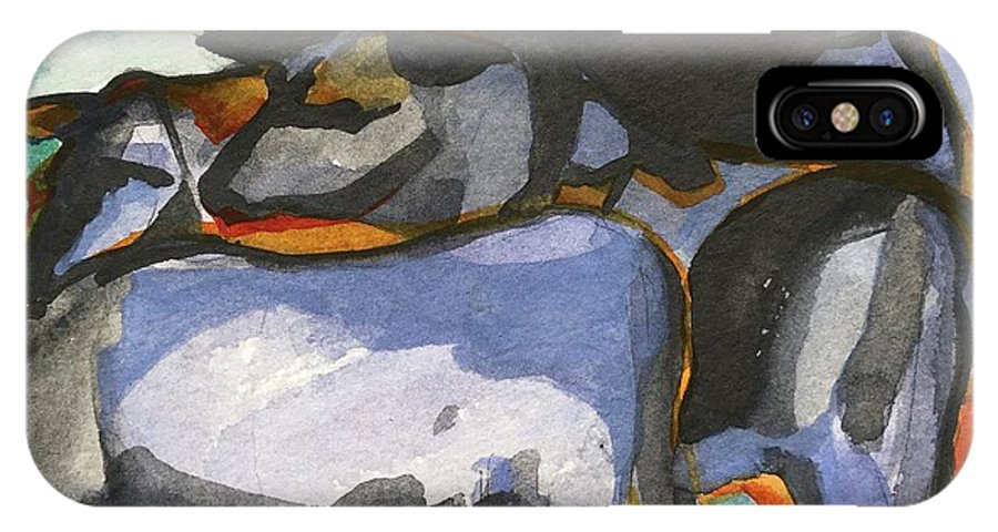Cows IPhone X Case featuring the painting Stone Barn Cows by Lynne Bolwell