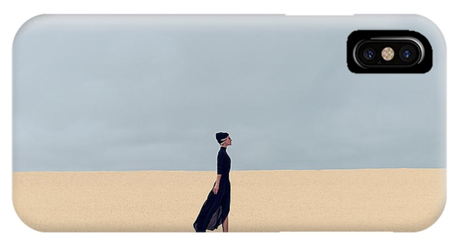 Dress IPhone X Case featuring the photograph Stylish Girl In Black Clothes Walking by Evgeniya Porechenskaya