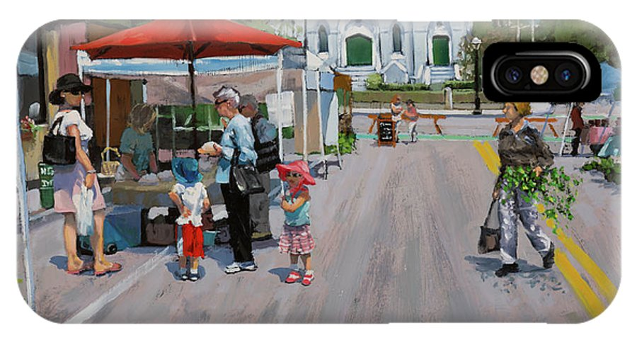 Laura Zanghetti IPhone X Case featuring the painting Summer in Hingham three by Laura Lee Zanghetti