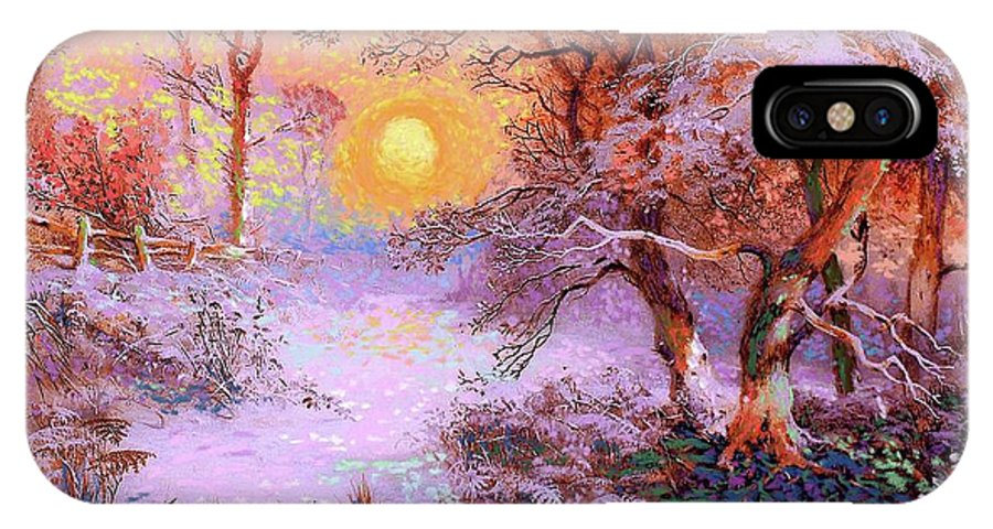 Sun IPhone X Case featuring the painting Sunset Snow by Jane Small