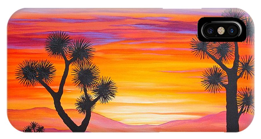 Sunset IPhone X Case featuring the painting Sunset Through the Joshua Trees by Carol Sabo