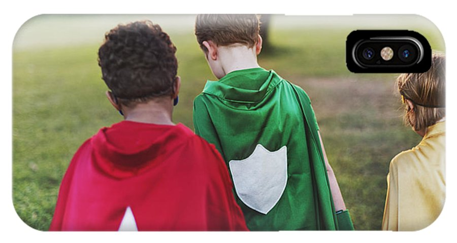 Friendship IPhone X Case featuring the photograph Superhero Kids Aspirations Fun Outdoors by Rawpixel.com