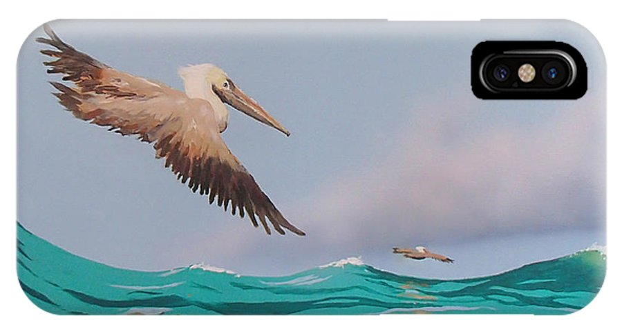 Pelicans IPhone X Case featuring the painting Surfing by Philip Fleischer