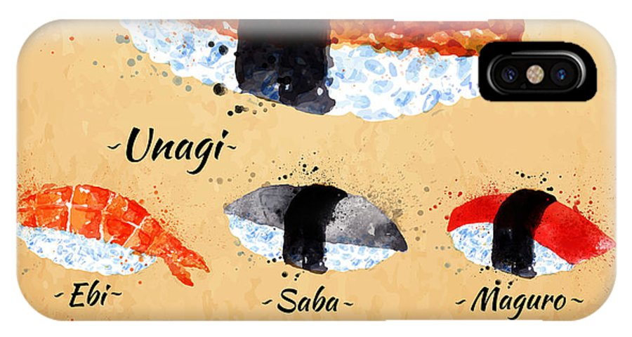 Lunch IPhone X Case featuring the digital art Sushi Watercolor Set Hand Drawn With by Anna42f