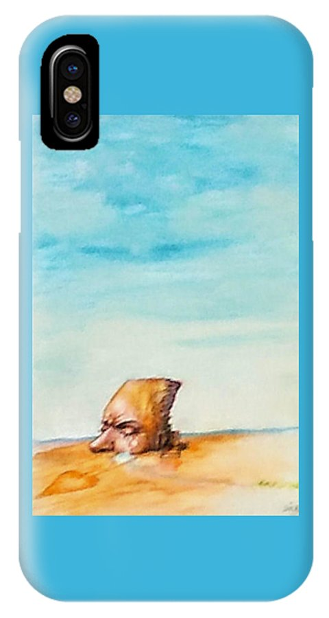 Surreal Landscape IPhone X Case featuring the painting Ted's Tears In The Desert by Lois McMorris