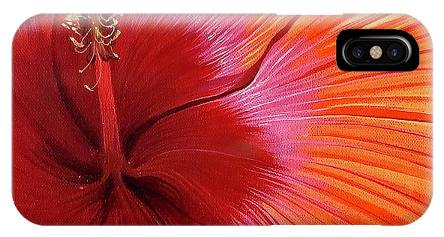 Hibiscus IPhone X Case featuring the painting Tequila Sunrise by Hunter Jay