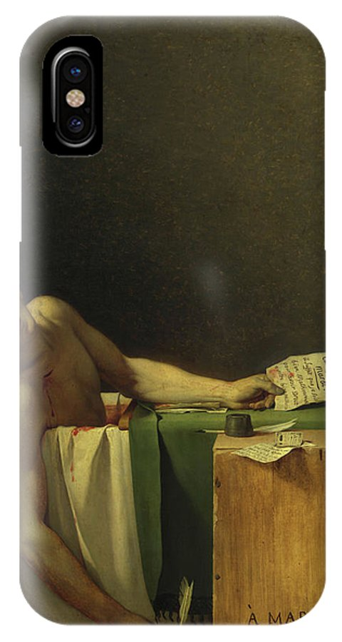 Jacques-louis David IPhone X Case featuring the painting The Death Of Marat, 1793 by Jacques-Louis David