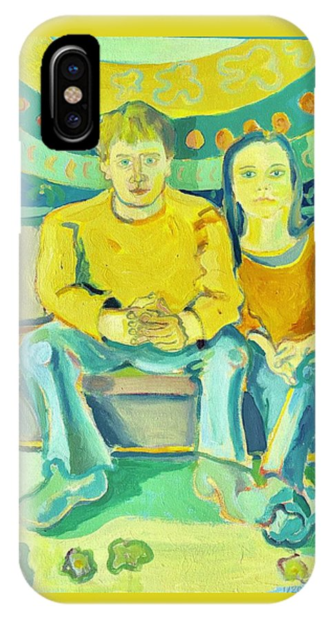 Portrait IPhone X Case featuring the painting The Engaged Couple by Debra Bretton Robinson