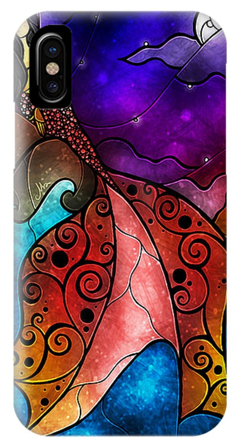 The Little Mermaid IPhone X Case featuring the mixed media The Little Mermaid by Mandie Manzano