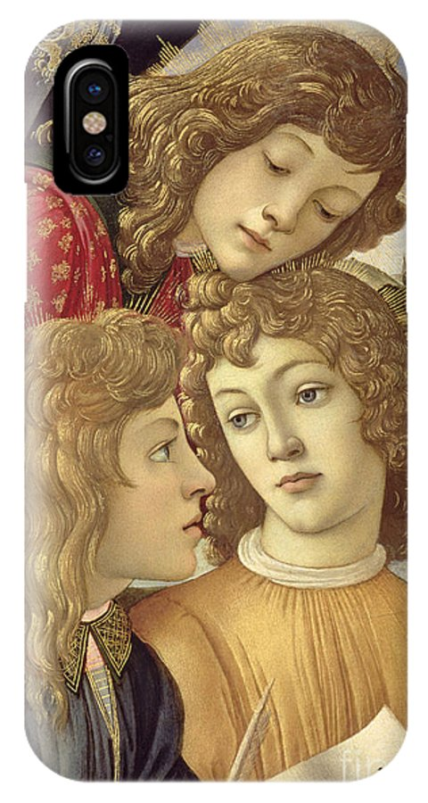 Sandro Botticelli IPhone X Case featuring the painting The Madonna Of The Magnificat, Detail Of Three Boys, 1482 by Sandro Botticelli
