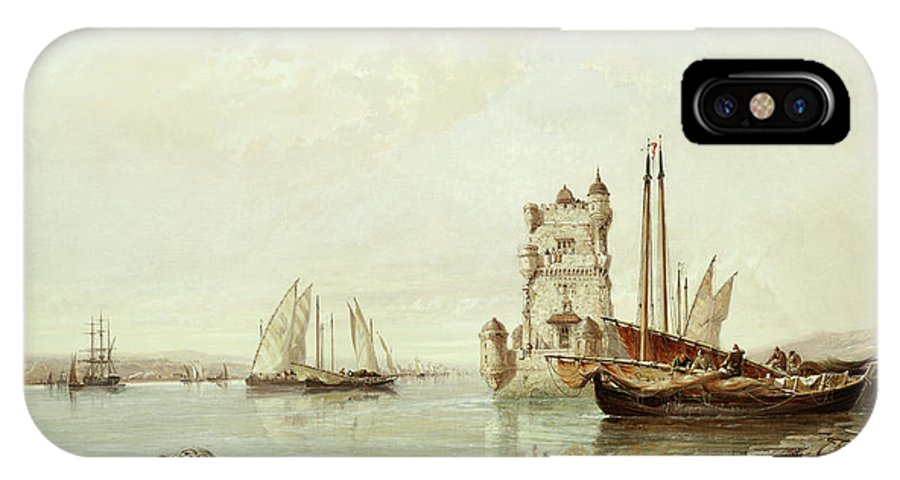 The Mouth Of The Tagus IPhone X Case featuring the painting The Mouth Of The Tagus, Lisbon by Arthur Joseph Meadows